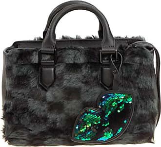 Kendall + Kylie Check faux fur bowling bag
