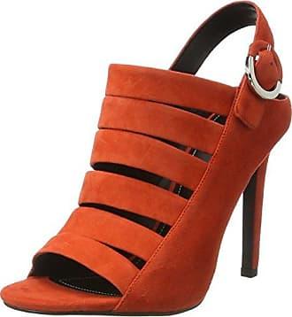 N°21 8003.6 - Sandalias con Punta Abierta de Piel Mujer, Color Rojo, Talla 36 EU