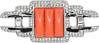 Kenneth Jay Lane Coral Deco Pin Coral/crystal