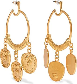 Kenneth Jay Lane Gold Crystal Nugget Clip Earrings Gold