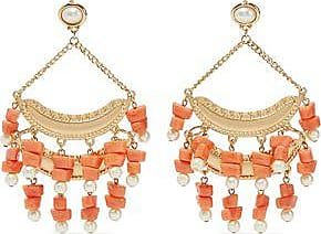 Kenneth Jay Lane Kenneth Jay Lane Woman Gold-tone Beaded Clip Earrings Coral Size