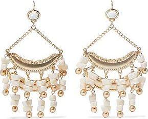 Kenneth Jay Lane Woman Gold-tone Stone Beaded Earrings White Size Kenneth Jay Lane