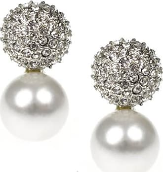 Kenneth Jay Lane Gunmetal Crystal Pearl Top Drop Clip Earrings Cultura pearl