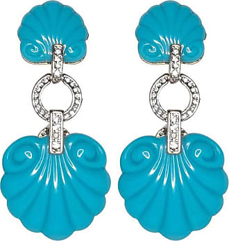 Kenneth Jay Lane Turquoise Shell Drop Clip Earrings Turquoise