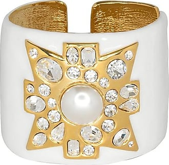 Kenneth Jay Lane White Maltese Cross Cuff White