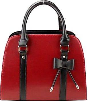 Frauen Lässig Elegant PU Leder Rein Farbe Schulter Taschen Handtasche Wein Rot Klein Keral