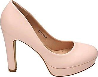 VogueZone009 Damen Rund Zehe Mittler Absatz Weiches Material Rein Ziehen auf Pumps Schuhe, Pink, 43