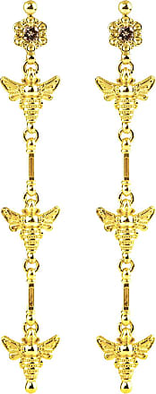 Konstantino 18k Yellow Gold Brown Diamond Bee Dangle Earrings