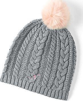 Womens Cashmere Cable Knit Hat - LXL - BLACK Lands End