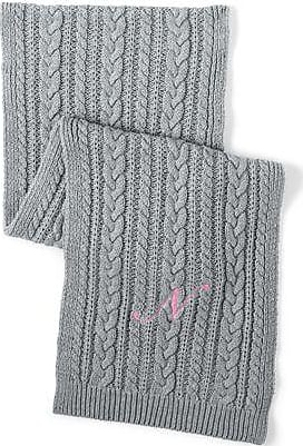 Womens Fine Gauge Cable Knit Scarf - Grey Lands End