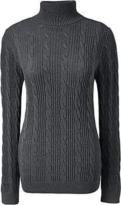 Womens Plus Fine Gauge Cable Roll Neck Jumper - 24-26 - Grey Lands End