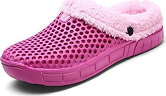 Unsex-Erwachsene Pantoffeln Halbe-Geschlossene Hohl Wärme Leichte Anti-Rutsch Herren Damen Clogs Weiß 38 EU Hausschuhe
