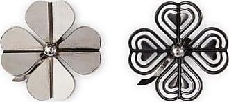 Lanvin Asymmetrical Cosmic Clover Earrings Grey/black