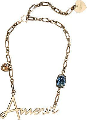 Lanvin Lanvin Woman Gold-tone Crystal And Glass Necklace Gold Size