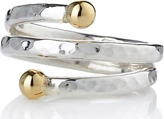 Lavan Sterling Silver & 9kt Gold Spiral Ring - UK U 1/2 - US 10 1/2 - EU 63 1/2