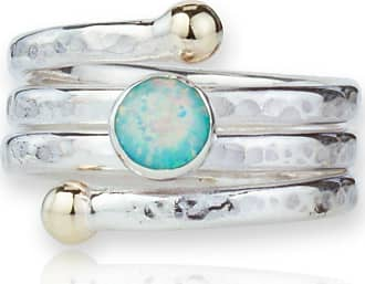 Lavan Hammered Sterling Silver Band With White Opal - UK K 1/2 - US 5 3/8 - EU 50 3/4