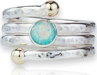 Lavan Sterling Silver, Gold & Opal Spiral Ring - UK K 1/2 - US 5 3/8 - EU 50 3/4