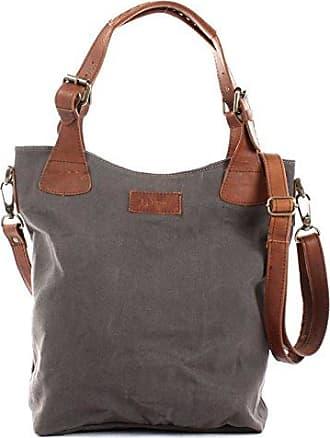 Henkeltasche Vintage Look Damentasche Handtasche Damen Shopper mit Schulterriemen Beuteltasche Canvas Leder 34x35x10cm grün LE0054-C Leconi
