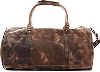 Reisetasche für Damen & Herren Ledertasche Weekender groß Sporttasche Männer + Frauen Handgepäck Sporttasche echtes Rinds-Leder Natur Retro 53x28x28cm schwarz LE2004-wax Leconi