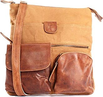 große Umhängetasche DIN A4 Schultertasche Messenger Bag Kuriertasche Businesstasche Klettverschluss Leder vintage 31x34x10cm braun LE3063 Leconi
