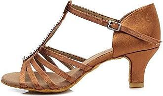 YFF Ballroom tango Latin Dance Schuhe für Frauen salsa, Hellbraun, 5 cm Absatz, 5.5