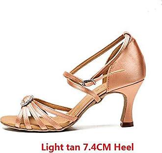 YFF Latin Dance Schuhe Satin professionelle Ballroom Tango Schuhe dünnen Absätzen Salsa, 5 cm Beige, 3,5