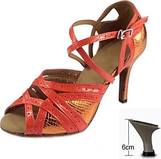 YFF Woman's Ballroom Latin Dance Schuhe Sandale Tango Salsa Party ChaCha, Orange Ferse, 75 mm, 10.