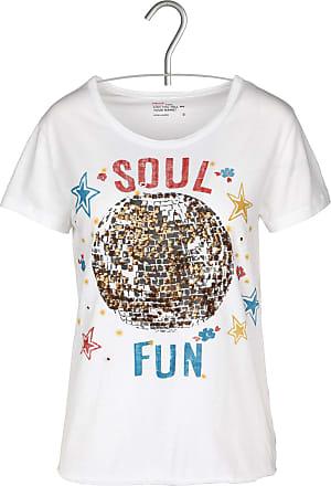 T-Shirt aus Bio-Baumwolle mit V-Ausschnitt, Siebdruck und Pailletten Leon & Harper