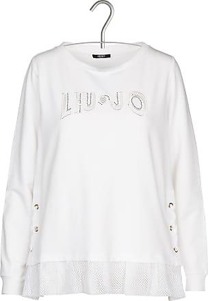 Netzstrick-Sweatshirt mit aufgesticktem Logo und Volants Liu Jo