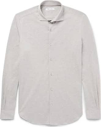 Andrew Slim-fit Cutaway-collar Puppytooth Virgin Wool And Cotton-blend Shirt - BlueLoro Piana