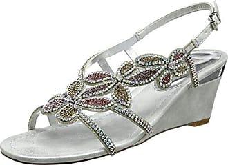 Agnetha, Bout Ouvert Femme - Argenté - Silver (Silver/Diamante), 40Lotus