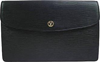 Louis Vuitton Black Leather Lv Envelope Carryall Clutch Bag