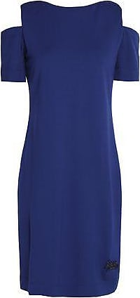 Love Moschino Woman Cold-shoulder Patch Applique Cady Mini Dress Cobalt Blue Size 46 Love Moschino