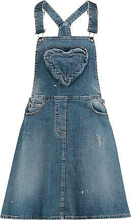 Love Moschino Woman Distressed Denim Mini Dress Mid Denim Size 42 Love Moschino