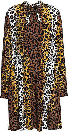Love Moschino Woman Leopard-print Crepe Mini Dress Animal Print Size 40 Love Moschino