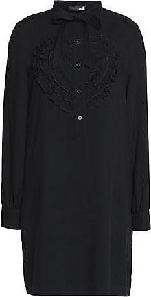 Love Moschino Woman Pussy-bow Ruffled Twill Mini Dress Black Size 44 Love Moschino