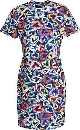 Love Moschino Woman Printed Ruffled Jersey Mini Dress Fuchsia Size 46 Love Moschino