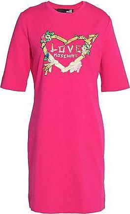 Love Moschino Woman Printed Ruffled Jersey Mini Dress Fuchsia Size 44 Love Moschino