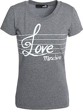 Love Moschino Woman Printed Cotton-jersey Mini Dress Gray Size 38 Love Moschino