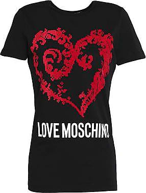 Love Moschino Woman Flocked Printed Cotton-jersey T-shirt Black Size 40 Love Moschino
