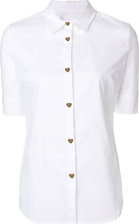 Love Moschino Woman Pussy-bow Ruffle-trimmed Striped Cotton-poplin Shirt Navy Size 48 Love Moschino