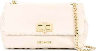 rectangle twist-lock shoulder bag - White Love Moschino