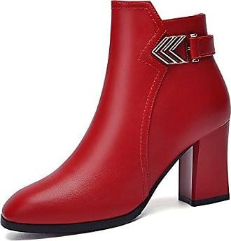 MEI&S Block der Frauen High Heels Spitzen Zehe Plattform Stiefelette Schuhe, Schwarz, 36 LSM-Stiefel