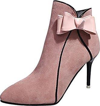 Zanpa Damen Klassische Keilabsatz High Heel Schuhe Mid Stiefel Ohne Verschluss mit Fransen Red Size 35 Asian
