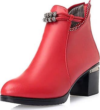 MEI&S Womens Block Ferse Fersen Runden Kopf Kurz Ankle Boots Schuhe, Wein Rot, 41 LSM-Stiefel