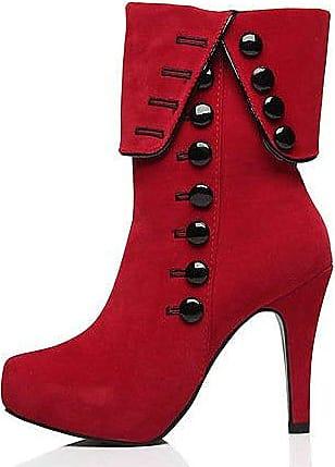 Weibliche Stiefel Rauhe Ferse High Heel Martin Stiefel Kurze Stiefel Perlenschmuck Winter, Schwarz, 37