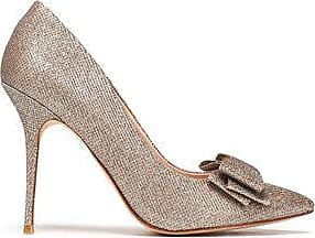 Lucy Choi London Woman Bow-embellished Metallic Woven Pumps Gold Size 41 Lucy Choi London
