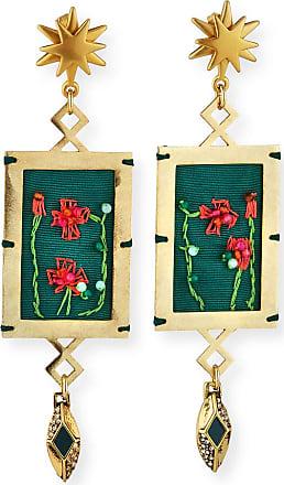 Lulu Frost Villa Hand-Embroidered Dangle Earrings