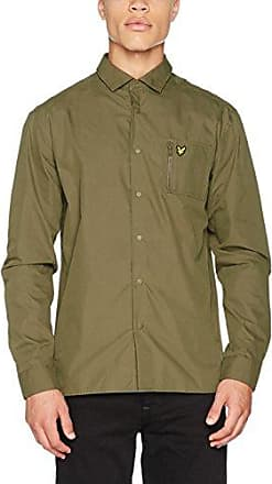 Zip Pocket Overshirt, Camisa Casual para Hombre, Verde (Olive A01), X-Large Lyle & Scott