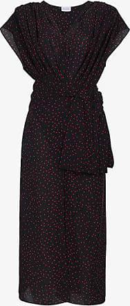 Pozallo Ruffled Silk Midi Dress - Navy Magda Butrym